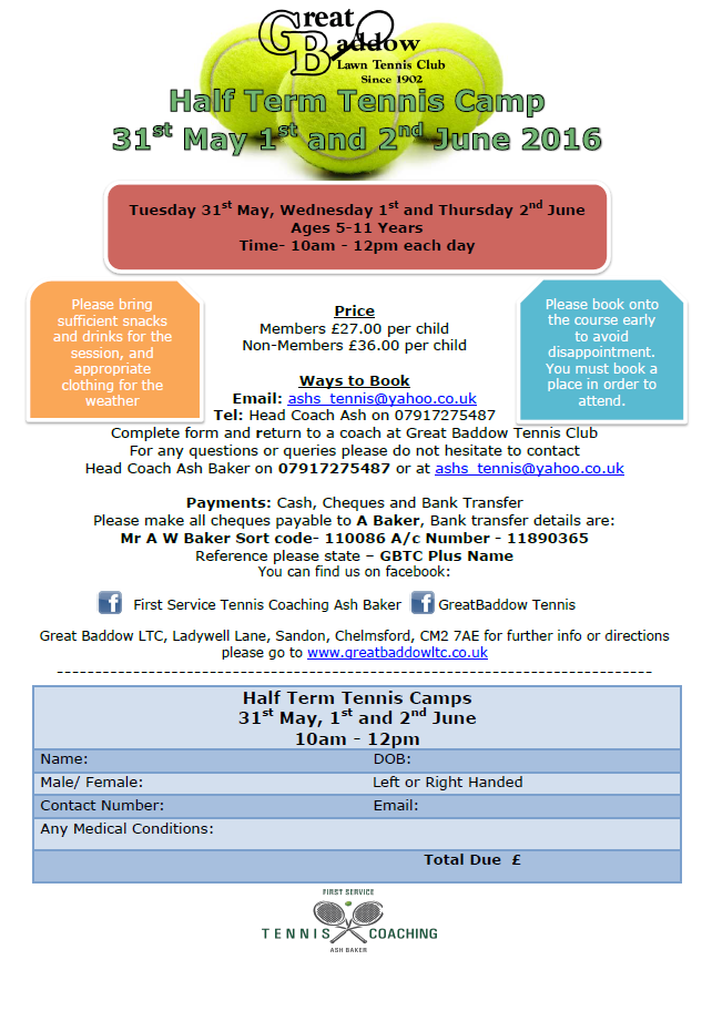 cbccc3205f0 Half-term Tennis Camp  Tuesday 31 May 2016 to Thursday 2 June